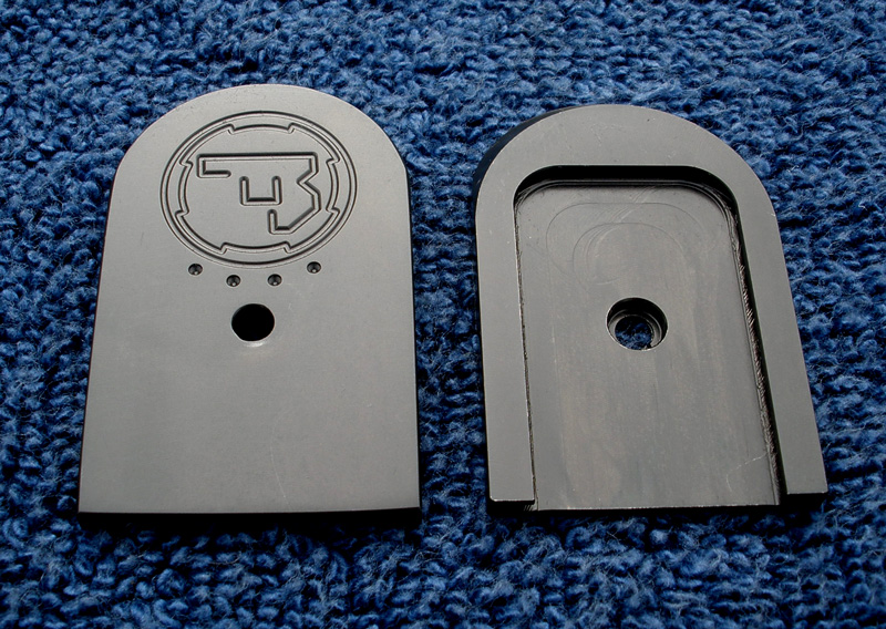 Stainless CZ75 mag base plates in blackened finish